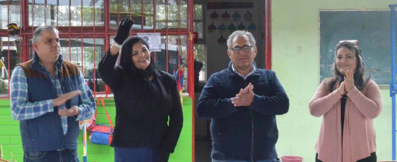 Alcaldesa hace entrega de obra en jardín de niños Manuel Nájera