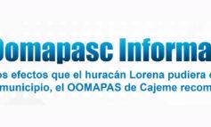 OOMAPASC Informa sobre Efectos de Huracan Lorena