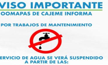 Avisan Suspension del Servicio de Ague Potable para Hoy Martes