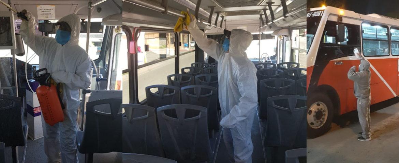 Mantienen labores de limpieza y desinfección en transporte público