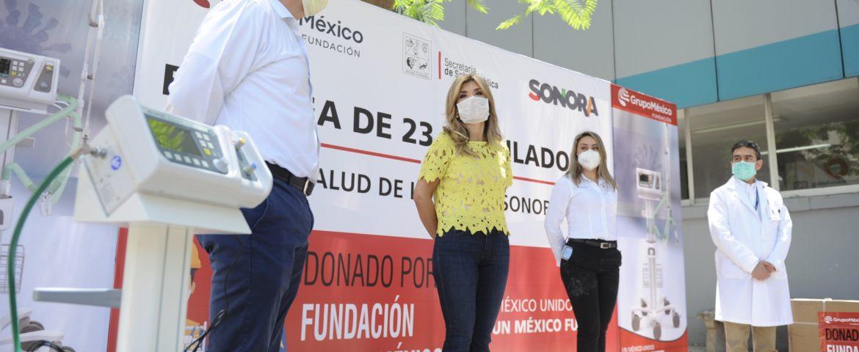 Recibe Gobernadora donación de ventiladores de Fundación Grupo México