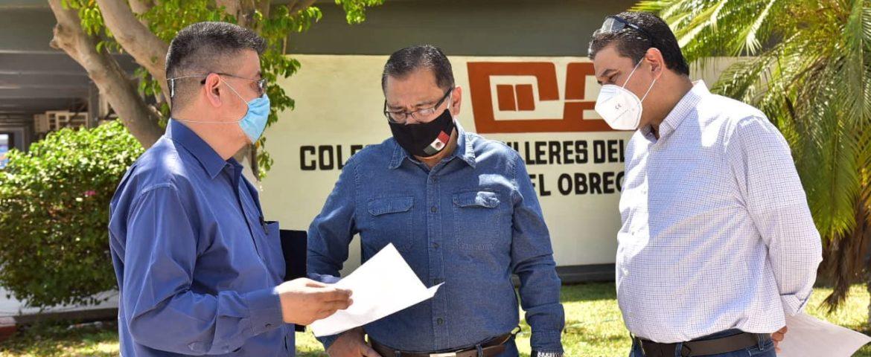 SUPERVISA ALCALDE MARISCAL ALVARADO EL AVANCE DE OBRA SOCIAL EN COLEGIO DE BACHILLERES PLANTEL OBREGÓN II