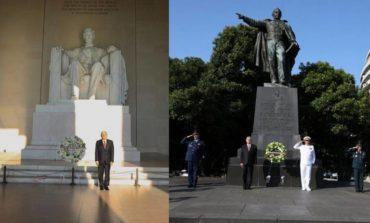AMLO deposita ofrendas en monumentos a Abraham Lincoln y Benito Juárez