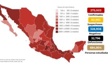 Mapa y casos de coronavirus en México del 8 de julio de 2020