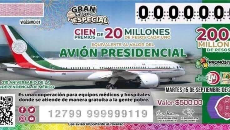 Los números ganadores del sorteo del avión presidencial
