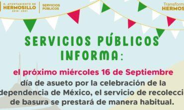 Sí habrá servicio de recolección el próximo 16 de septiembre