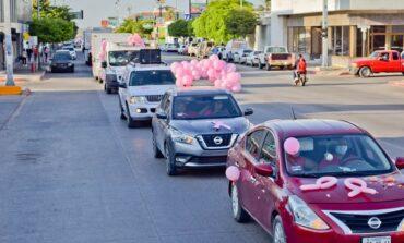 Encabeza alcaldesa Rosario Quintero Caravana Rosa y encendido de lazo por conmemoración de 19 de octubre
